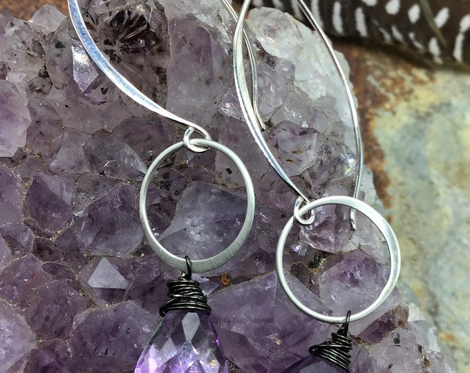 Dainty hoops with stunning Amethyst! Light as a feather with gorgeous sparkle,long sterling ear wires, minimalist, urban chic