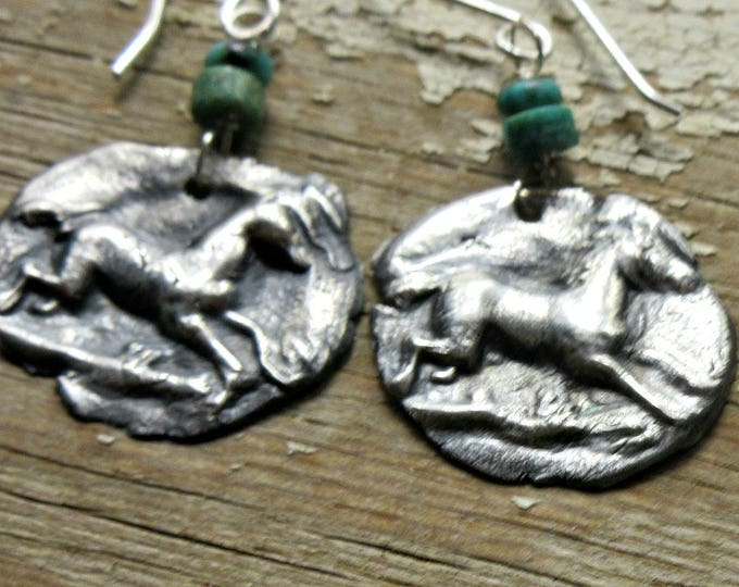 Rustic prancing pony, horse, horse lover, equestrian, horse woman, Weathered Soul jewelry, PMC, turquoise, artisan jewelry, horses
