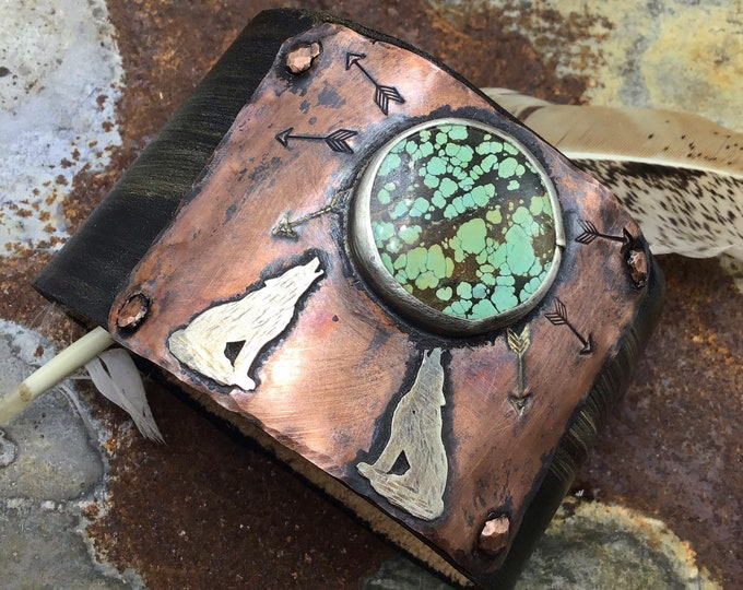 Howling at the moon cuff by Weathered Soul jewelry, large turquoise moon, distressed black leather,coyote,wolf, cowgirl,artisan crafted