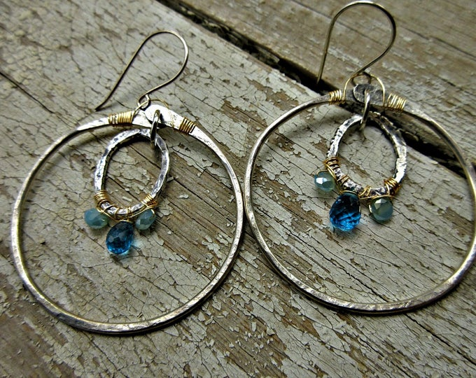 Large Double rustic hoop earrings by Weathered Soul TM, blue topaz, Swarovski glass, bronze wire wrapping, cowgirl, urban, Sundance styling