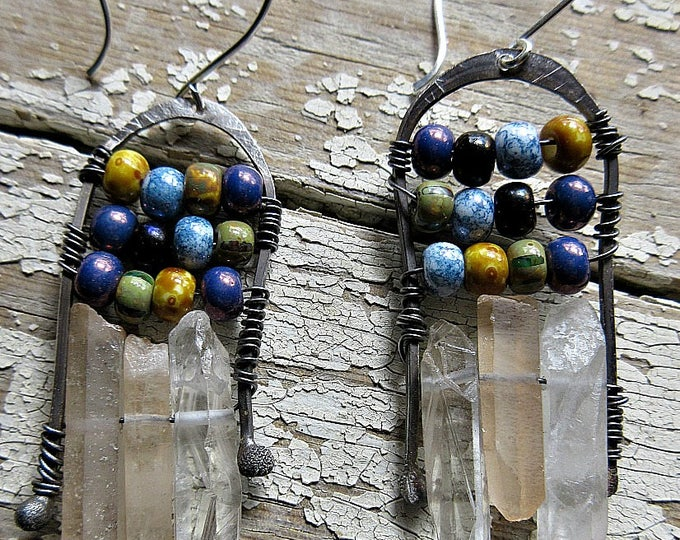 Made to order Wild arches earrings by Weathered Soul, ceramic pearlized beads with quartz wire wrapped on these rustic  arches, artisan