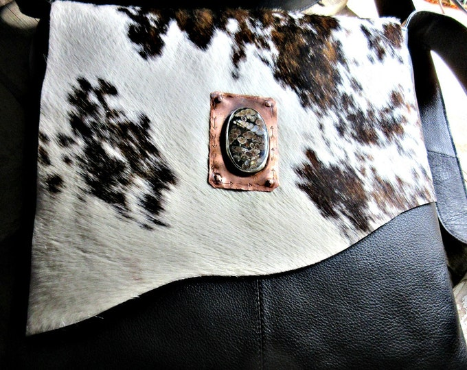 Gorgeous fur on hide and leather altered bag by Weathered Soul Jewelry, artisan copper and silver turtellia stone riveted on flap with arrow