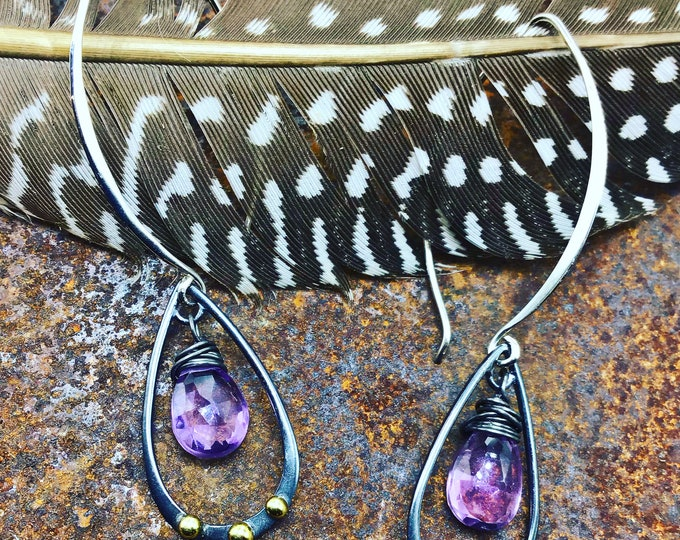 Beautiful teardrop oxidized black hoops with bronze and amethyst, minimalist,simplicity, classic, artisan, mixed metal