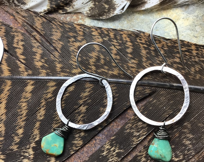Small rustic hoops with genuine turquoise teardrops, sterling hammered round or a little abstract your choice,approximately one inch hoop
