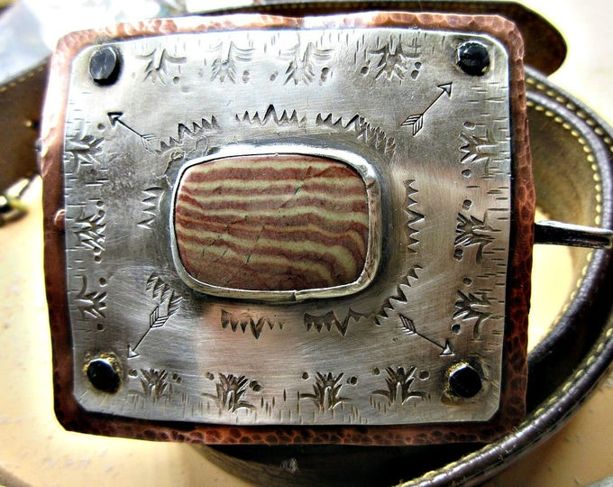Artisan handcrafted Copper and Sterling stamped buckle with wood grain natural stone by Weathered Soul Jewelry,  Gorgeous heavy duty. art!