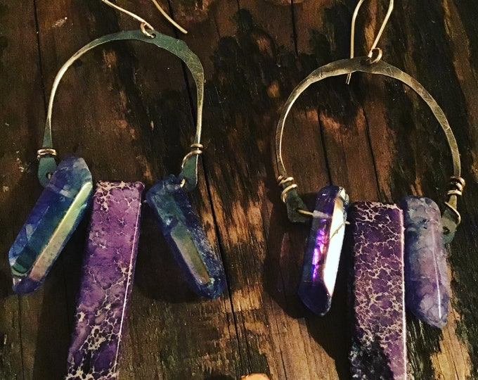 Wild purple bohemian horseshoe hoops by Weathered Soul, magnesite and raw quartz drop off these very large statement earrings,artisan made