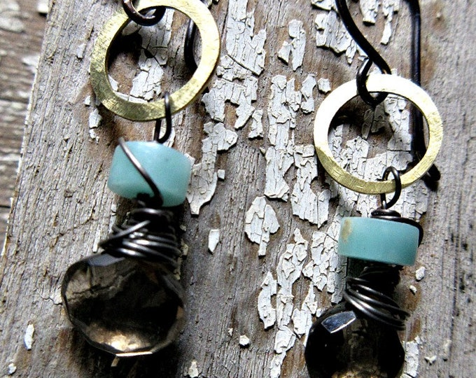 Itty Bitty Brass Hoops with Peruvian Opal and Smokey Quartz, artisan made in the USA wire wrapped, dainty, classic, simplistic, urban, hoops