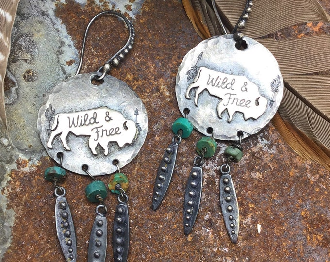 Buffalo fringe earrings by Weathered Soul, artisan turquoise wild and free , bison lover,outdoor enthusiast, roaming the range