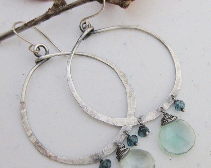Large hammered hoops with quartz and blue topaz drops ,artisan earring, top quality, unique, semi precious stones. USA