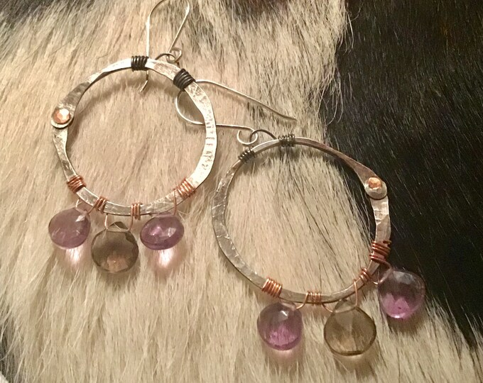 Riveting hoops by Weathered Soul Jewelry,artisan hoops with Amethyst and Smokey quartz,sterling and copper mixed metal combo,rustic