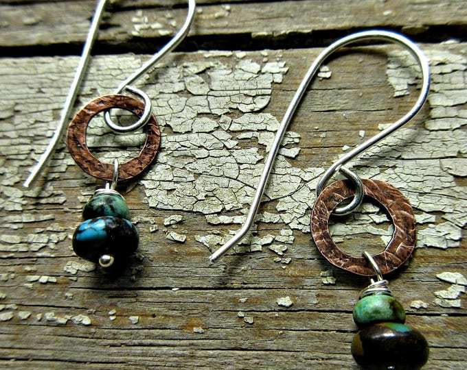 Itty Bitty hoops by Weathered Soul Jewelry, tiny hammered copper hoops with sterling wires and turquoise rondel drops, artisan made, dainty