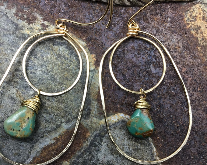 Double trouble large hoops with turquoise, rustic cowgirl, urban chic, western style,weathered Soul ,artisan hoops,sterling hoops