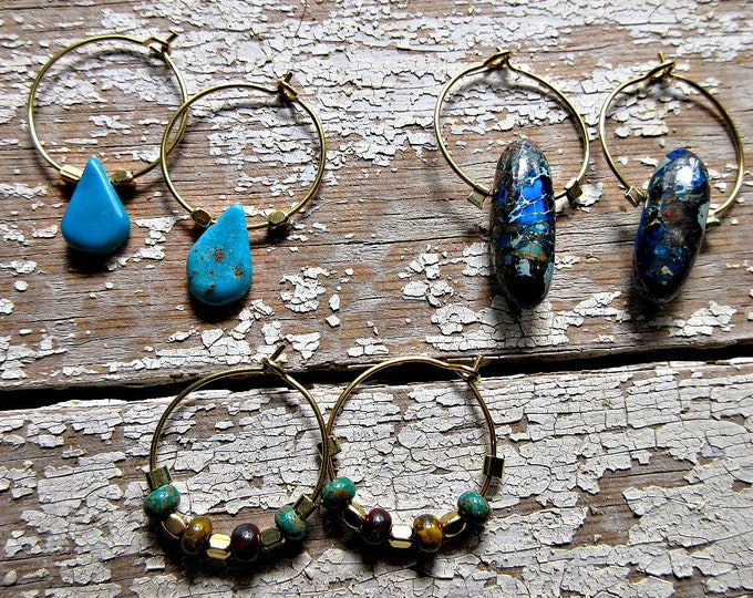 Set of 3 pairs of sweet in through the ear hole hoops with turquoise, imperial jasper, and sweet ceramic beaded ones too. you get all 3 pr.!