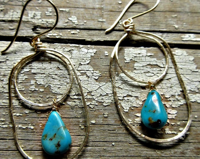 Dainty Gold Filled double hoops with turquoise, classy, urban, lightweight, Weathered Soul Jewelry, artisan, rustic hoops, USA, recycled