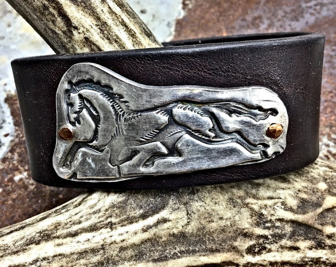 Fox trotter style sterling pacer horse riveted in copper on dark chocolate leather, horse, horse jewelry, horse crazy, equestrian, cowgirl