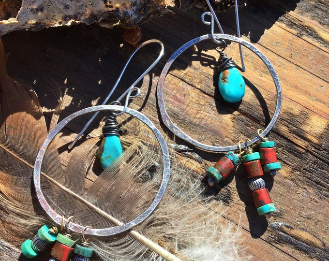Large southwestern hoops, artisan hoops, turquoise and red trade beads make a fun splash of color, cowgirl style,boho chic, USA crafted