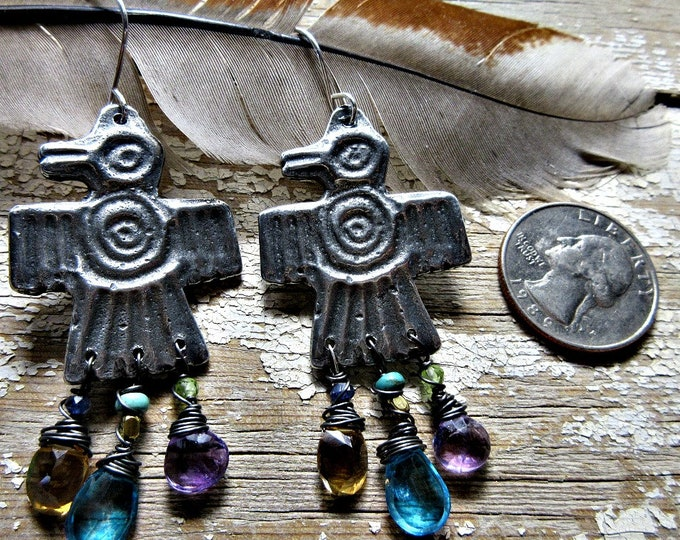 Featured listing image: Jeweled Thunderbird earrings by Weathered Soul Jewelry, artisan made, bird lover, southwest, Native American, topaz, citrine, amethyst, USA