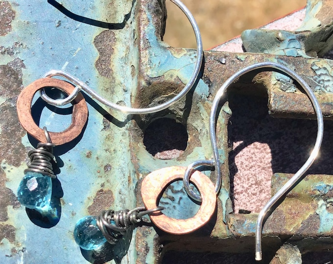 Itty bitty copper blue topaz hoops, tiny, dainty, boho,cowgirl, gift, Sundance style, Weathered Soul,artisan hoops