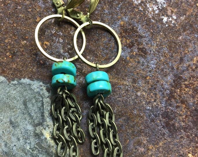 Dainty bronze hoops with French clips, turquoise,  vintage inspired bronze chain earrings by Weathered Soul jewelry,cowgirl,fringe,artisan