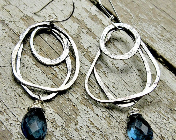 Hoops and hoops earrings by Weathered Soul, denim quartz and hammered rustic sterling abstract shapes dangle by handmade ear wires, USA art