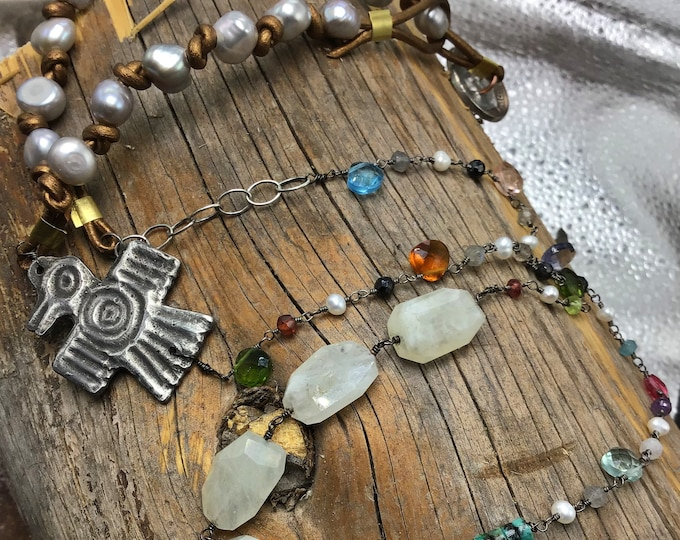 Summer Thunderbird fun necklace, leather pearls, gemstones make this an outstanding go to necklace, lots of special details artisan