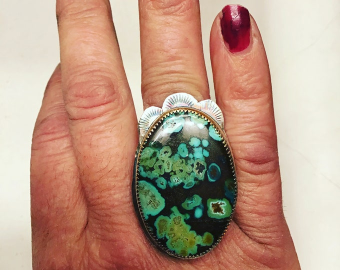 Turquoise ring by Weathered soul with Western flare, on sterling , silver band