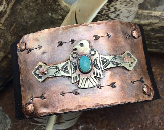 Thunderbird cuff with turquoise and genuine buffalo nickel snap closure by Weathered Soul, black leather, men cuff, women cuff,USA crafted