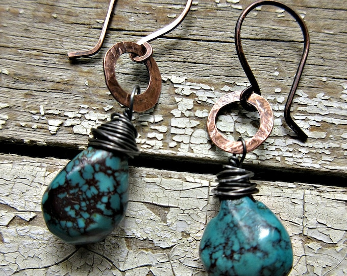 Dainty hammered copper hoops with wire wrapped turquoise teardrop hand cut stone, rustic, urban, cowgirl, artisan, USA made, urban chic