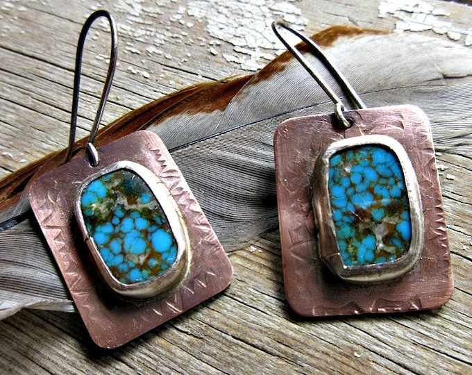 A touch of turquoise earrings by Weathered Soul artisan jewelry, copper, silver, matrix turquoise, medium sized, cowgirl, stunning, USA made
