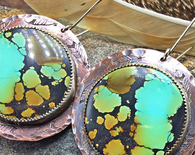 Feeling sassy statement matrix turquoise earrings by Weathered Soul, cowgirl, western vibe, OOAK, Bao canyon stones, artisan jewelry