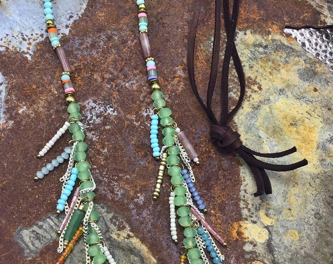 Long flowing fun funky fringe necklace by Weathered Soul jewelry, chocolate brown leather,over head styling,USA crafted