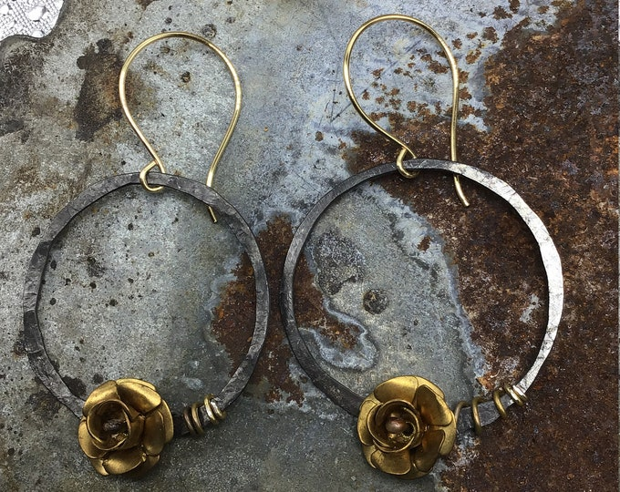 Dainty prairie rose earrings by Weathered Soul Jewelry, cowgirl, whimsical, fun, hammered hoops with a touch of blue topaz artisan hoops USA