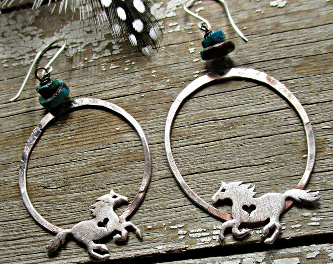 Made to order Running Free sterling horse hoops by Weathered Soul Jewelry, artisan, cowgirl, horse lover, rustic, turquoise,USA crafted
