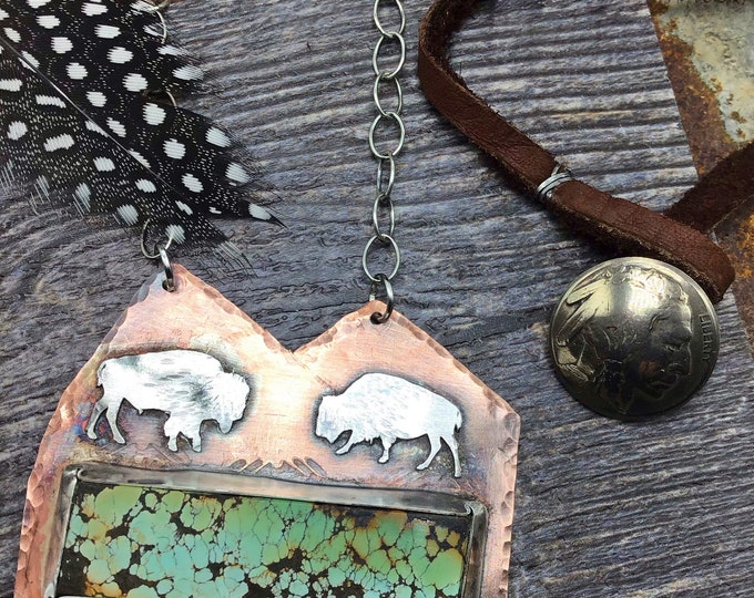 Mountains and bison artisan rustic necklace by Weathered soul jewelry,leather and sterling drop to rustic slab of gorgeous matrix turquoise
