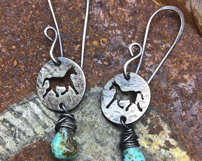 Pretty little pony dainty earrings by Weathered Soul,  sterling with long  ear wires, simple, horse lover, cowgirl, little girl jewelry