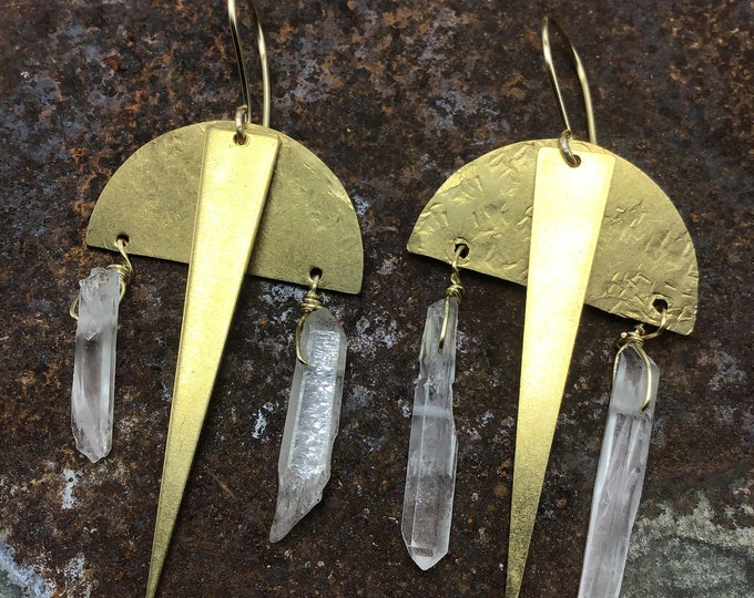 Perfect balance raw quartz and bronze earrings by weathered soul jewelry, artisan urban vibe, rock concert kinda fun , move to the groove