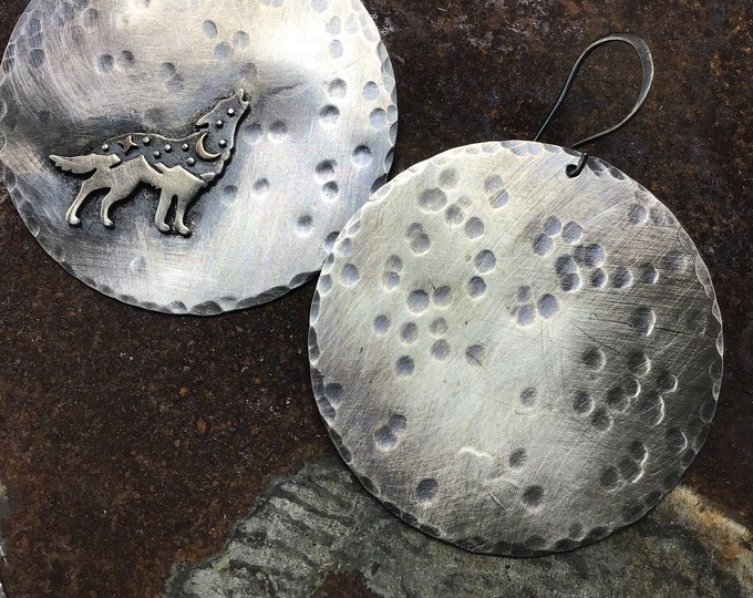 Night moonlight howl earrings by Weathered Soul sterling silver made to order very large almost two inch diameter medallions hand hammered