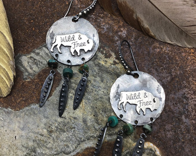 Buffalo fringe earrings by Weathered Soul
