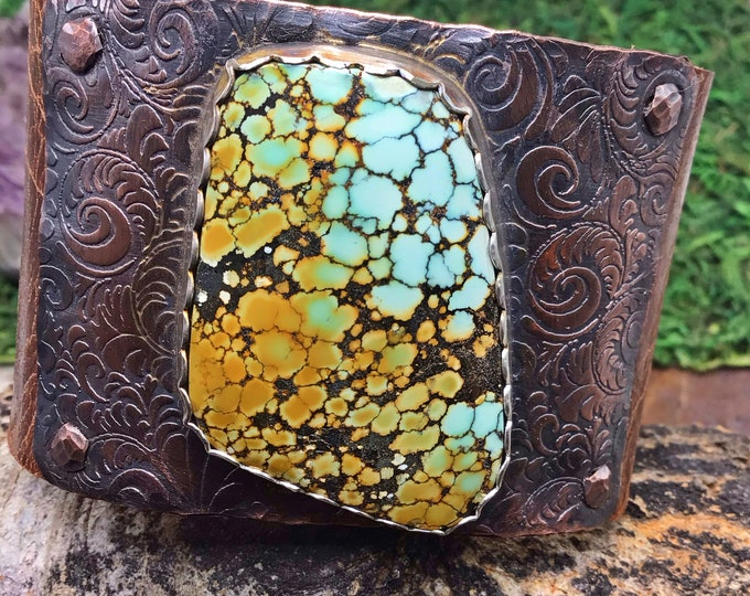 "Huge statement  turquoise cuff bracelet by Weathered Soul fits 8"" wrist artisan,cowgirl,statement OOAK, urban chic"