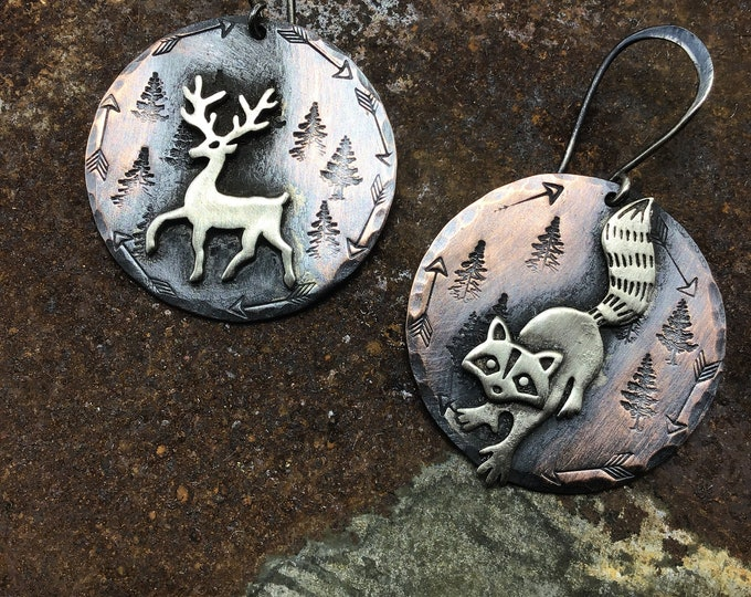 Made to order night stalker earrings by Weathered Soul jewelry, mix critters you can mix your choice of 2 animals, one set of earrings