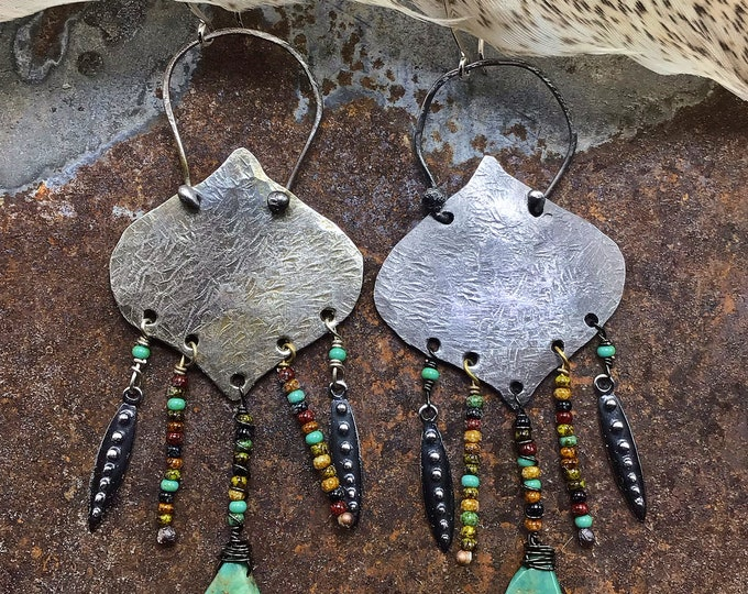 Urban cowgirl danglers with rustic sterling large statement earrings, with tiny seed beads, stunning boho look, cowgirl,western fashion