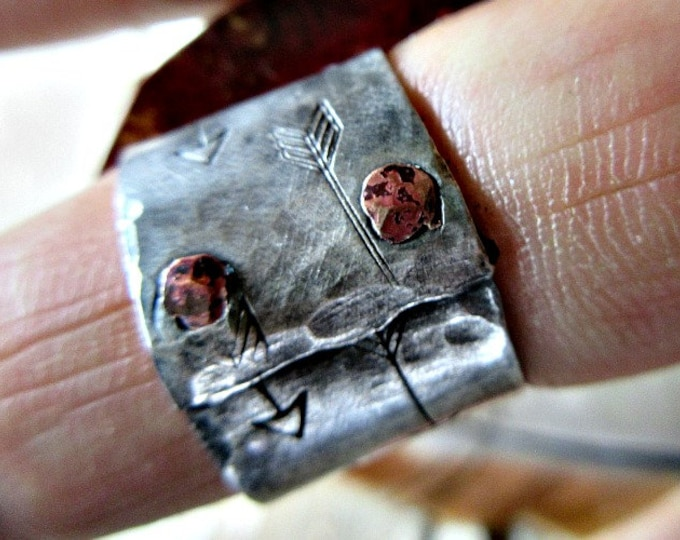 Custom Arrow Riveted Ring, you pick your size, sterling and copper by Weathered Soul Jewelry, artisan made, wide band