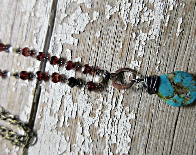 Oh wow, rosary chain hand wire wrapped in garnet and pearls with turquoise teardrop wire wrapped dangle on a copper rustic hoop, artisan USA