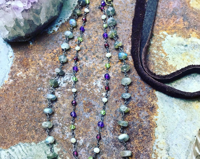 Labradorite, pearl, garnet,and amethyst with soft deep chocolate brown elk leather, classic style beautiful stand alone or layered piece