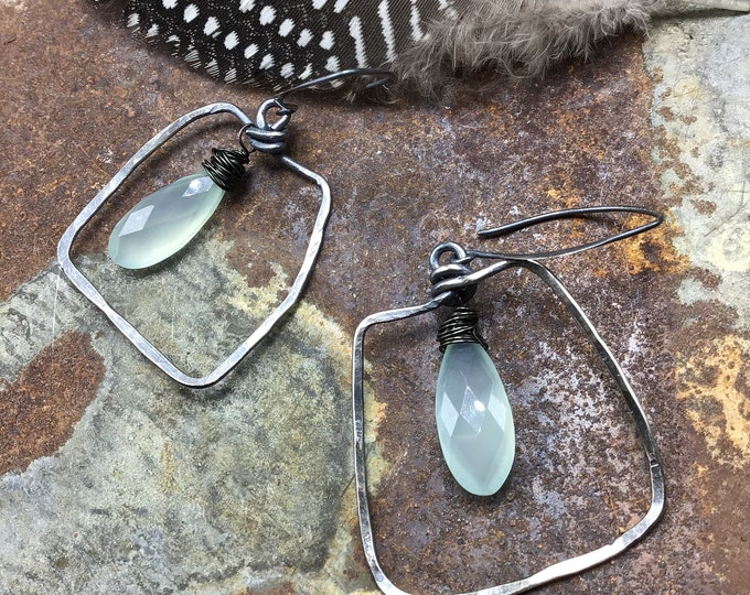 Abstract rustic slightly off kilter square hoops with chalcedony by Weathered soul, rustic sterling
