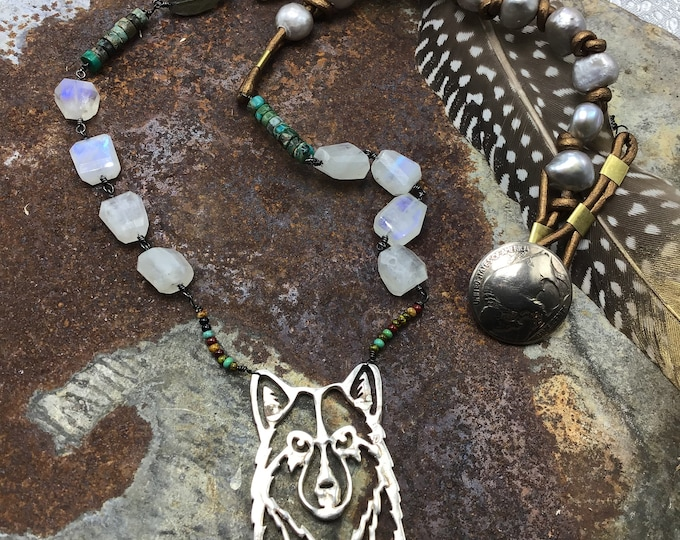Lone wolf necklace by Weathered Soul, vintage sterling repurposed with leather, turquoise, moonstone and pearls, classic,USA
