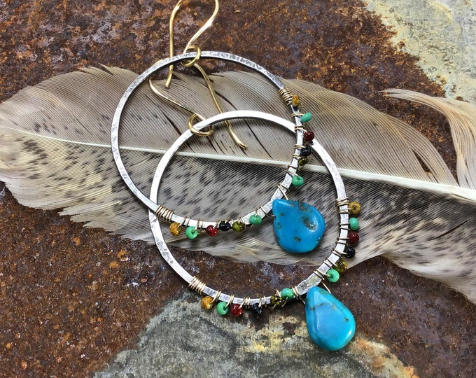 Southwest twist hoop earrings by Weathered Soul jewelry, large hammered sterling hoops with tiny seed beads and turquoise wire wrapped