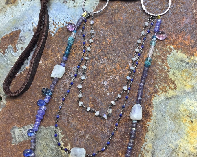 Purple paradise necklace with moonstone, kyanite, purple labradorite,Lapis, and leather layered in one beautiful ensemble,Sundance style
