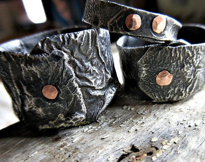 Reticulation Station by Weathered Soul Jewelry custom made rustic no two alike sterling rings with copper rivet, organic, raw, rustic, USA