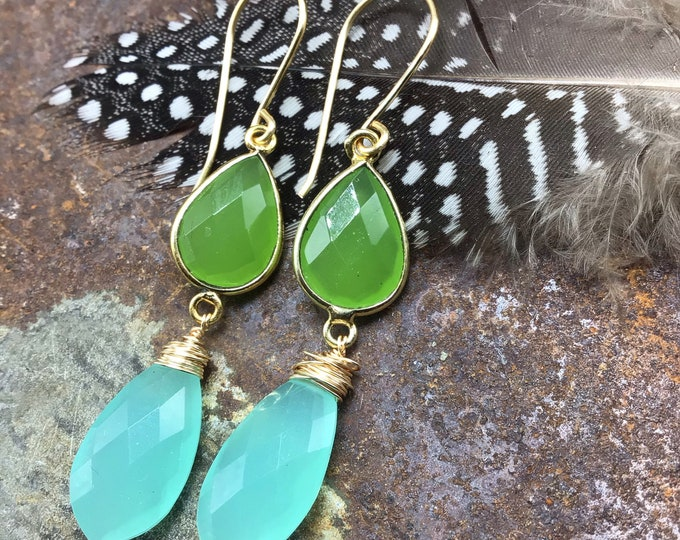 Summer fun lime and sea foam blue chalcedony and bronze dainty drop earrings by Weathered Soul